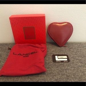 Lancel Paris Red Leather Heart Shape Coin Purse